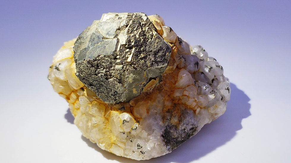 Collector's Piece: Pyrite Sphere and Pyrite on Calcite from Daye Copper Mine