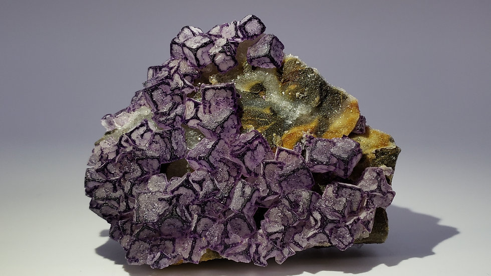 Fluorite with Purple Edges from Qinglong Mine, Guizhou, China