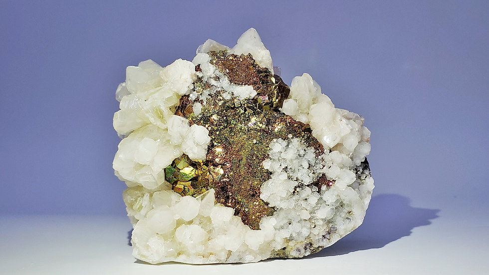 Collector's Piece: Iridescent Chalcopyrite with Calcite from Daye Copper Mine