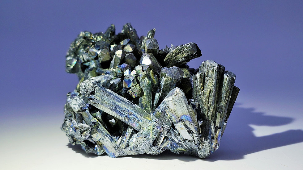 Collector's Piece: Iridescent Stibnite Cluster from Wuning (Wuling) Mine, China