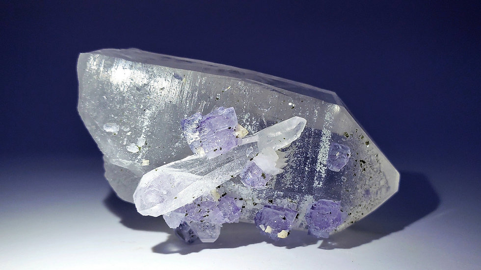 Collector's Piece: Fluorite on Quartz with Dolomite from Yaogangxian Mine