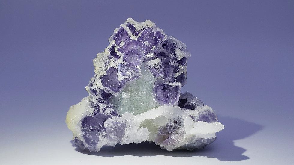 Fluorite with Druzy Quartz from Yaogangxian Mine