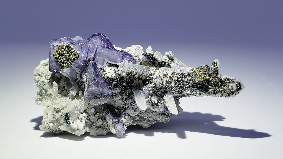 Pyrite on Fluorite and Quartz from Yaogangxian Mine