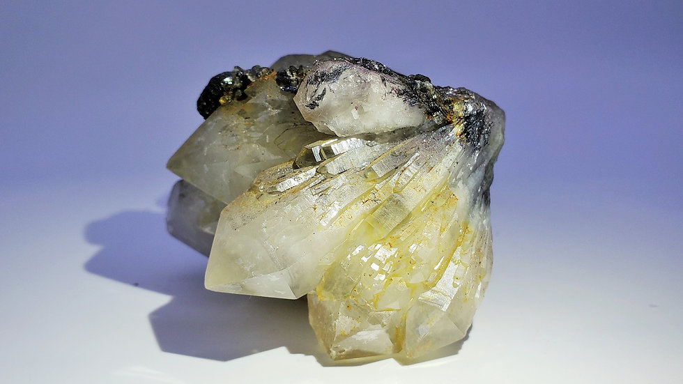 Elestial Quartz Cluster with Hematite and Hedenbergite from Huanggang Mine