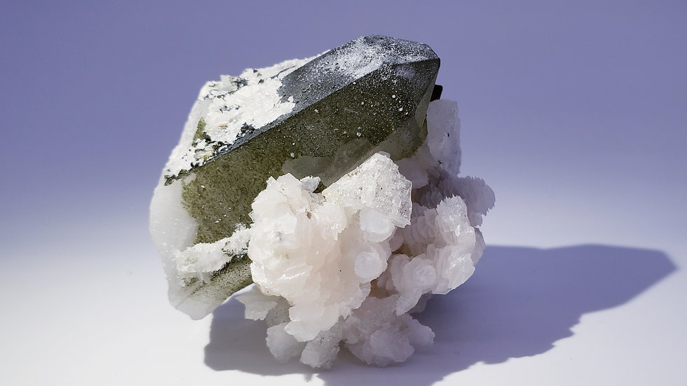 Epidote Coated Quartz with Pink Manganoan Calcite and Arsenopyrite