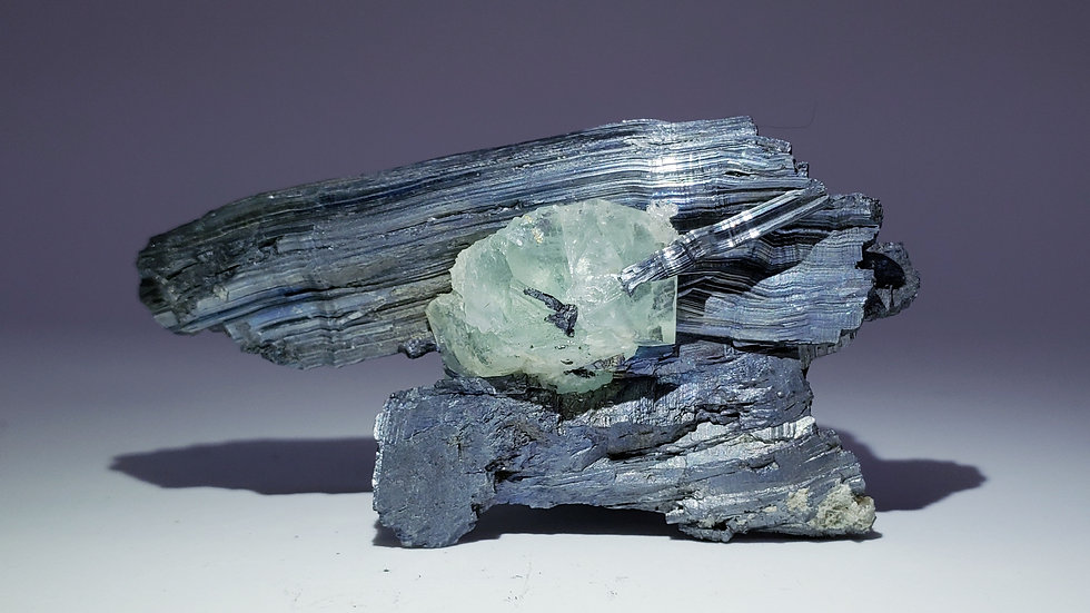 Collector's Piece: Fluorite and Stibnite from Xikuangshan Mine, China