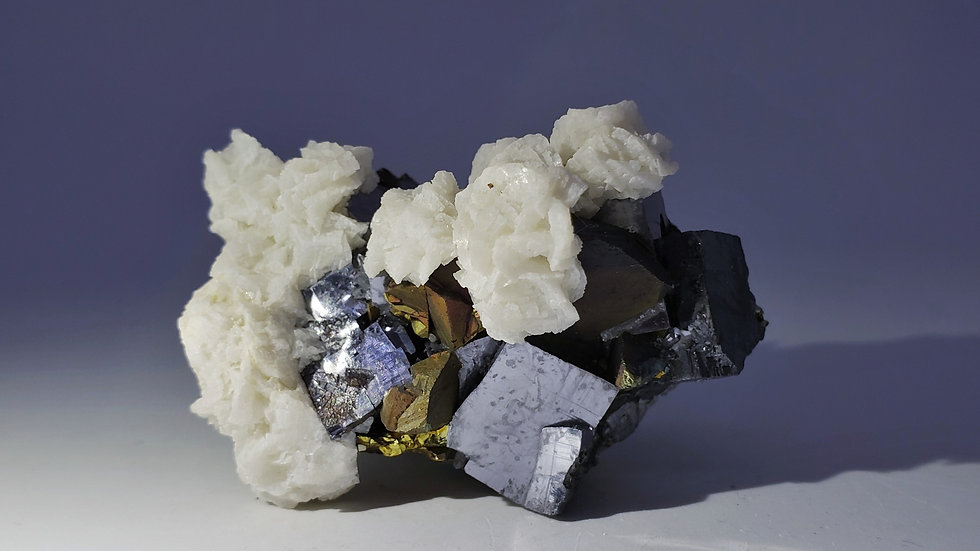 Rosette Dolomite with Galena and Iridescent Chalcopyrite from Dongxiang Co