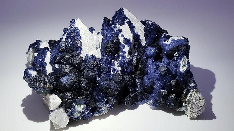 Blue Fluorite on Milky Quartz from Huanggang Mine, Inner Mongolia