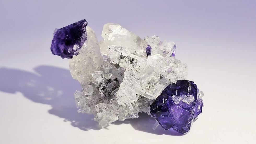 Fluorite on Quartz Matrix from Shizhuyuan Mine