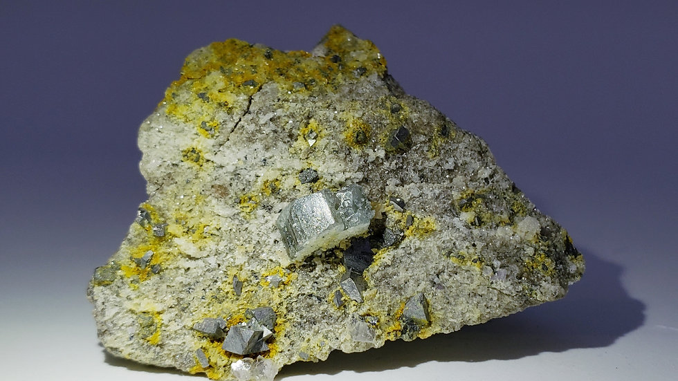 Apatite var. Fluorapatite and Pyrite on Matrix from Yaogangxian Mine, China