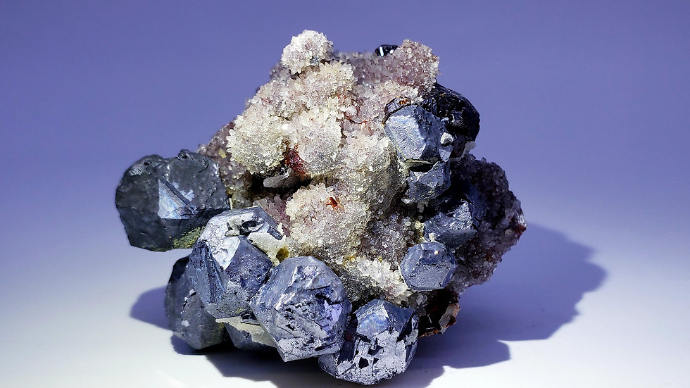 Collector's Piece: Galena and Sphalerite on Quartz from Taolin Mine