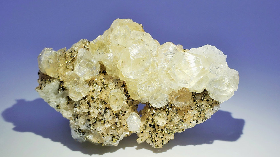 Calcite and Pyrite on Marble from Daye Copper Mine