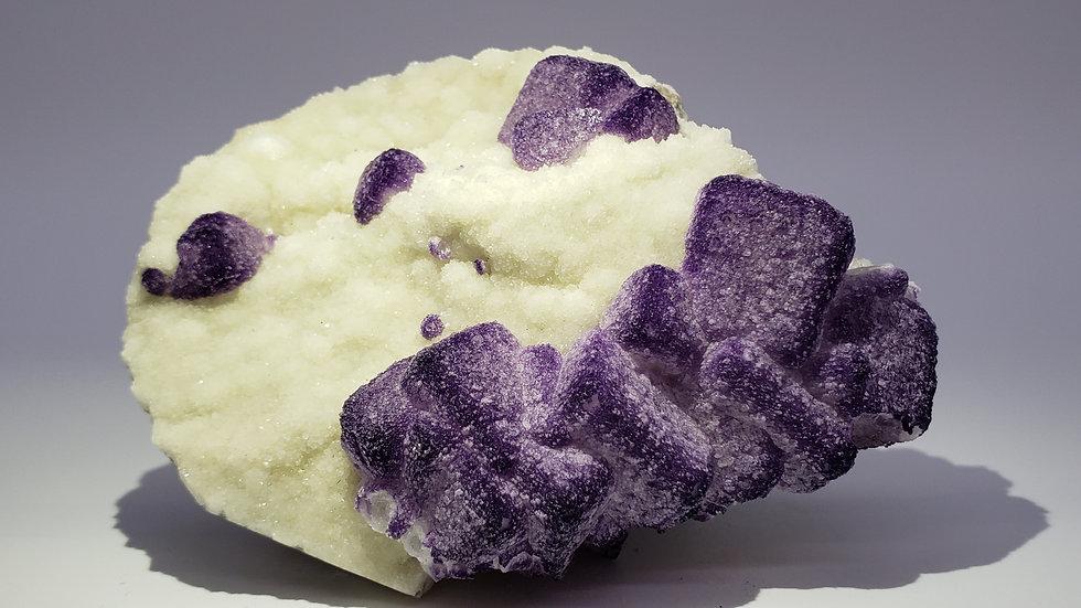 Cubic Fluorite on Botryoidal Quartz from Qinglong Mine, Guizhou, China