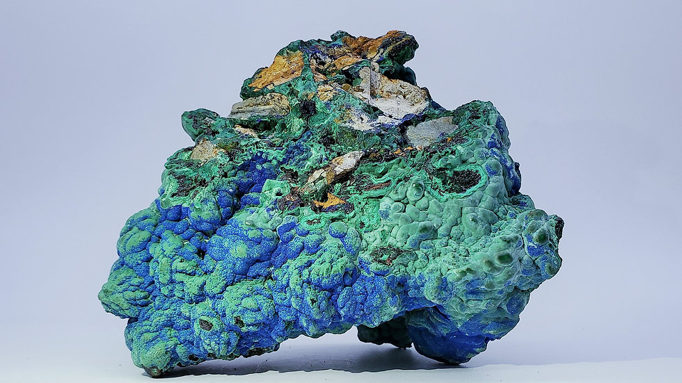 Collector's Piece: Azurite and Chrysocolla Pseudomorph after Malachite from Laos