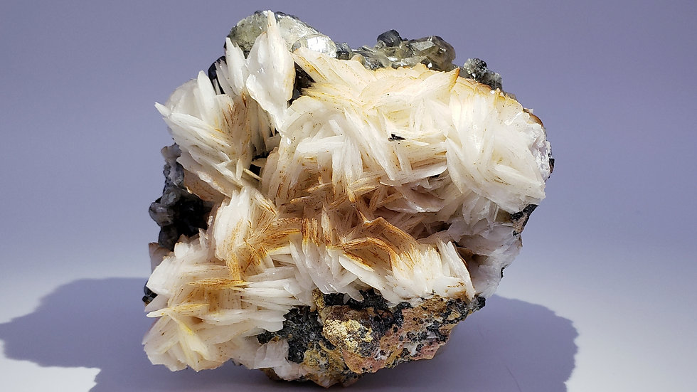 Baryte and Cerussite on Galena from Les Dalles Mine, Milbladen, Morocco