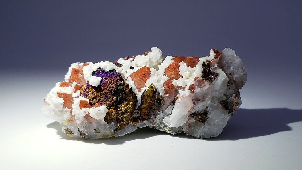 Red Hematite Quartz with Chalcopyrite Coated Tetrahedrite and Dolomite