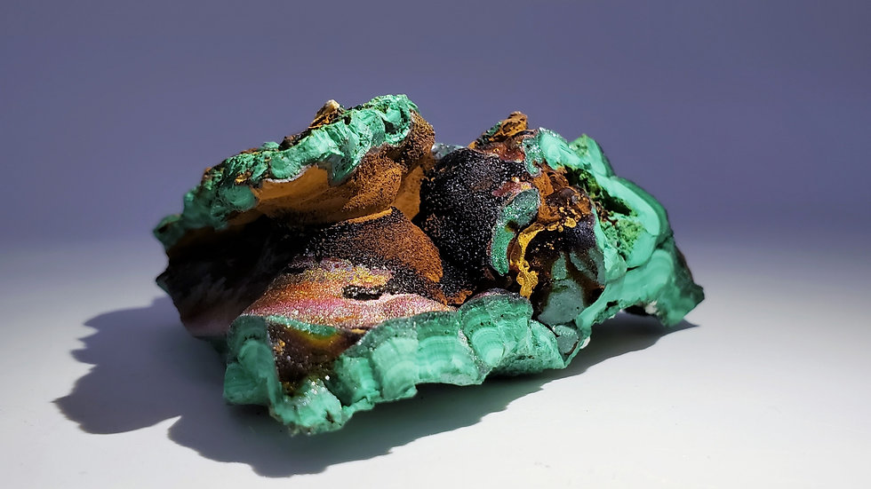 Collector's Piece: Iridescent Goethite on Malachite from Sepon Mine, Laos