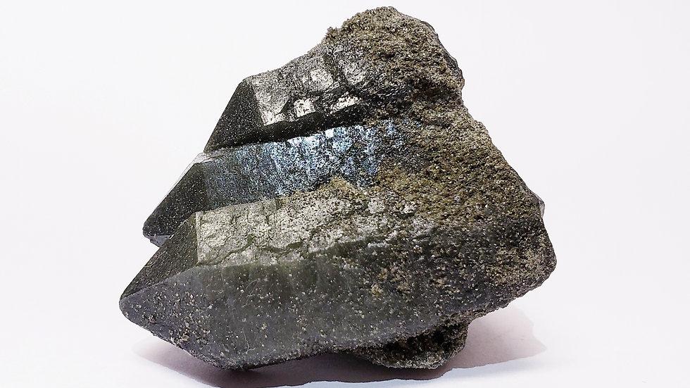 Trio Hedenbergite Included Quartz Cluster from Inner Mongolia