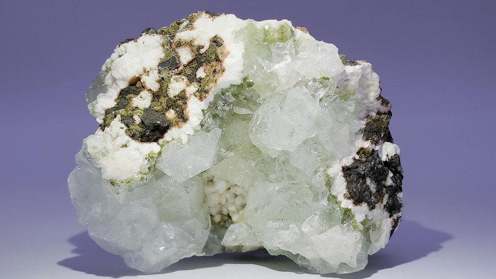 Green Apophyllite with White Stilbite in Geodesque Huelandite