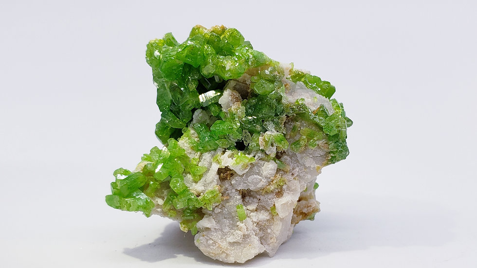 Bright Lime-Green Pyromorphite on Matrix from Daoping Mine, China