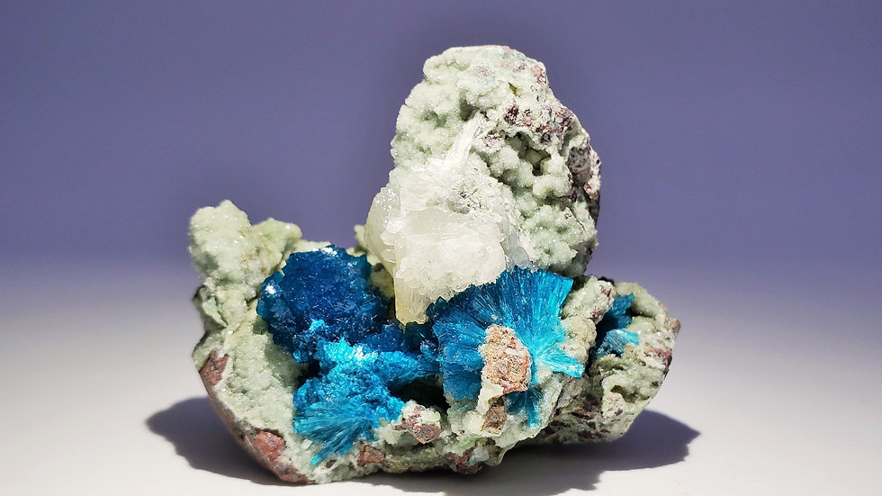 Vivid Sapphire-Blue Cavansite on Stilbite Matrix from Wagholi Quarry, India