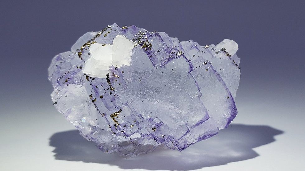Fluorite with Pyrite and Calcite from Yaogangxian Mine