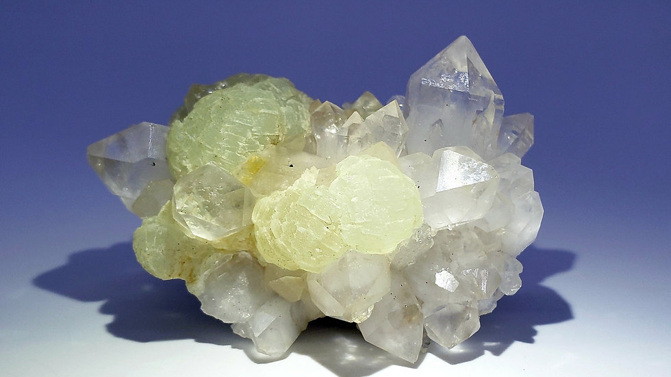 Botryoidal Prehnite and Quartz Cluster with Epidote from Meigu Co.