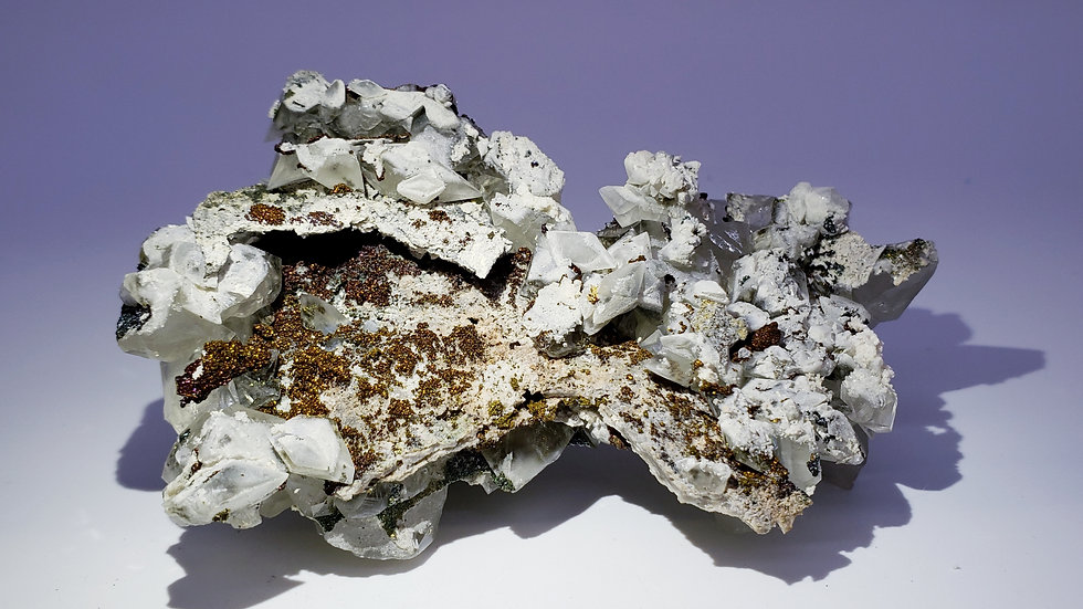 Calcite with Iridescent Chalcopyrite from Daye Copper Mine
