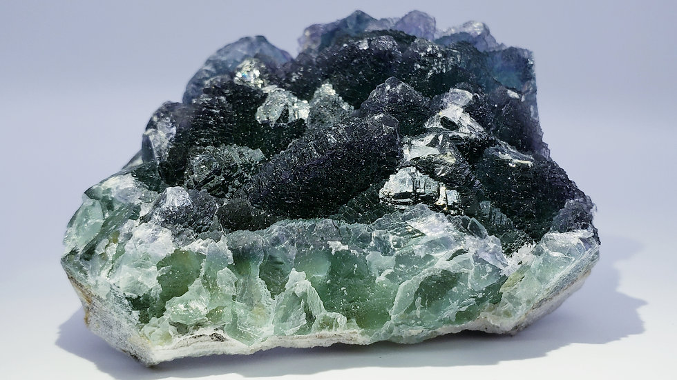 Deep Emerald Green Octahedral Stepped Fluorite Crystal Cluster from Yiwu Mine, C