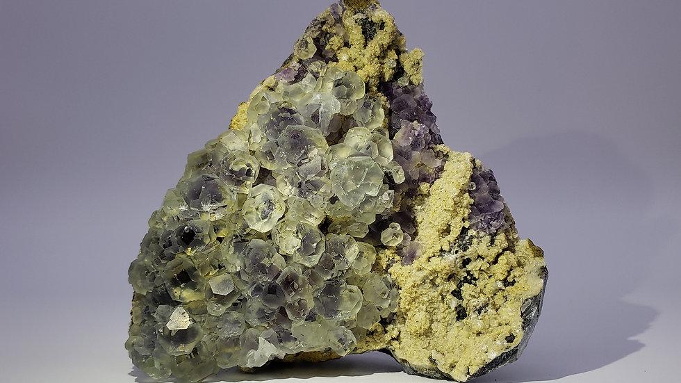 Very Rare Bi-Colour Phantom Fluorite Crystals on Matrix Specimen