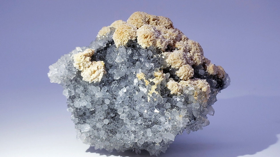 Collector's Piece: Baryte (Barite) on Blue Quartz from Daye Copper Mine