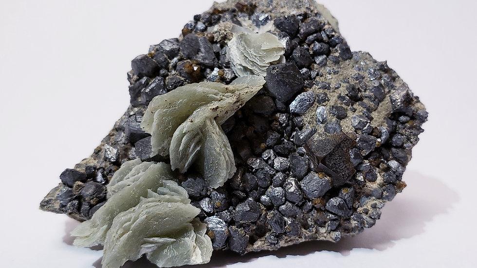 Rare Green Calcite and Arsenopyrite on Matrix from Inner Mongolia