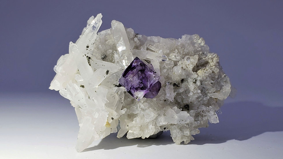 Fluorite on Quartz with Epidote and Mica from Yaogangxian Mine