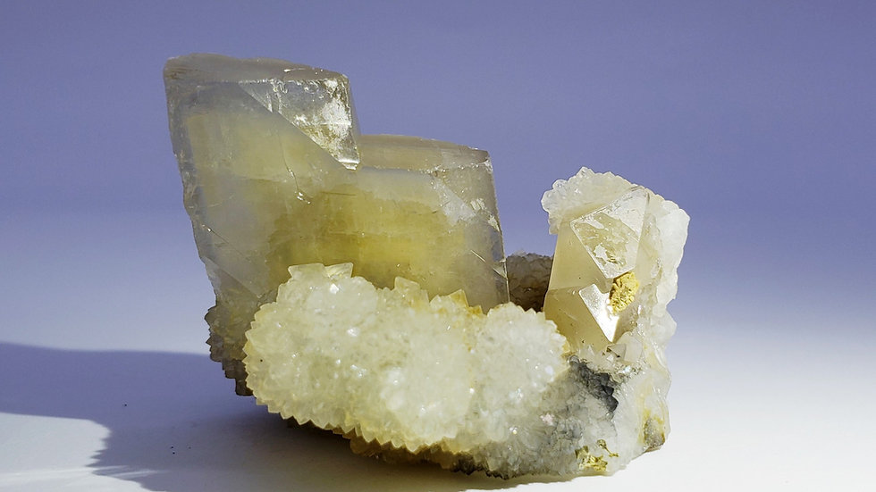 Barite (Baryte) on Druzy Quartz from Xikuangshan Mine, Hunan, China