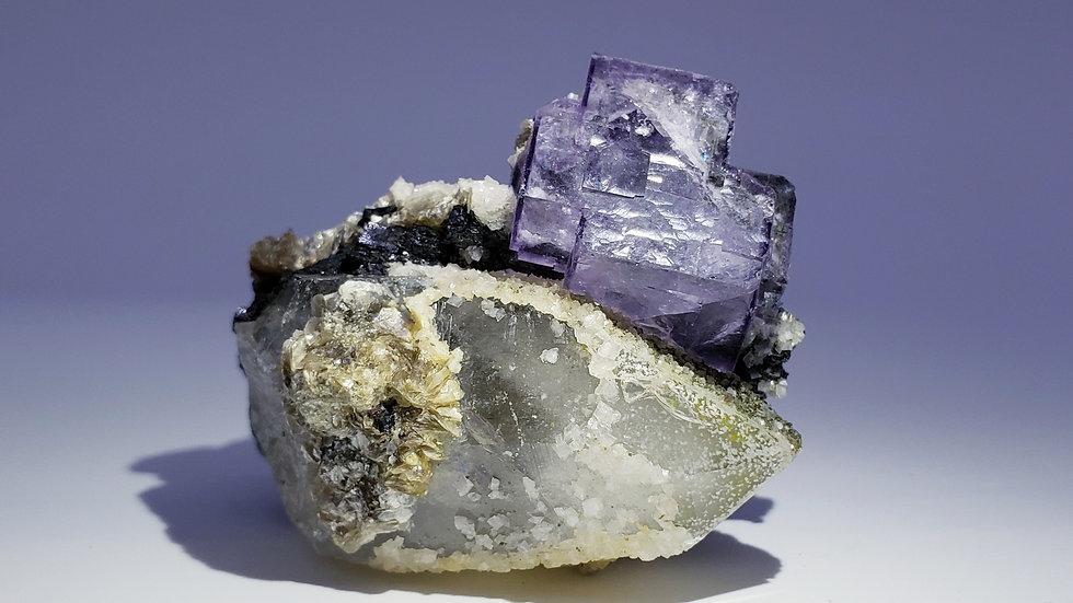 Phantom Fluorite, Quartz, Epidote, Wolframite, Calcite Crystal Cluster, Yaogan