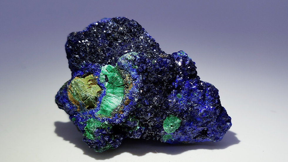 Sparkling Azurite and Malachite Crystals Specimen from Laos
