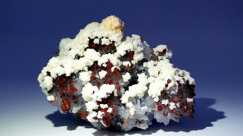 Red Hematite Quartz, Dolomite, Baryte and Bornite from Daye Mine