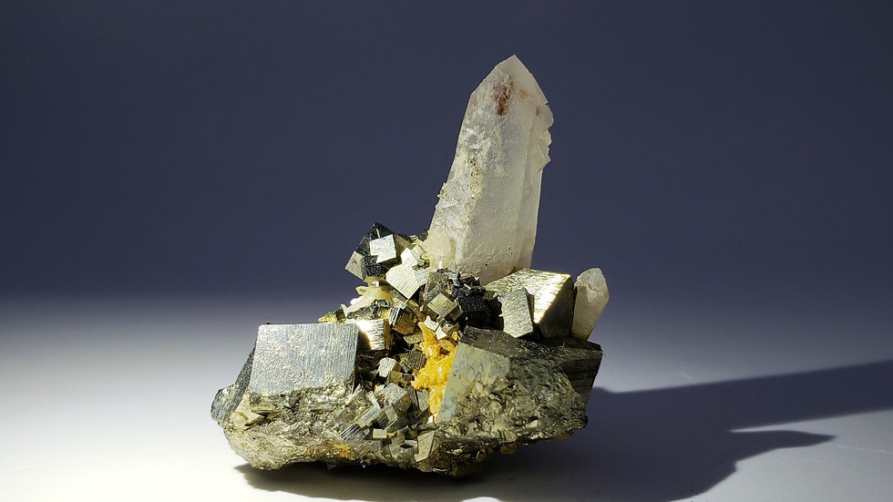 Quartz with Pyrite and Dolomite Mineral Specimen from Shangbao Mine, China