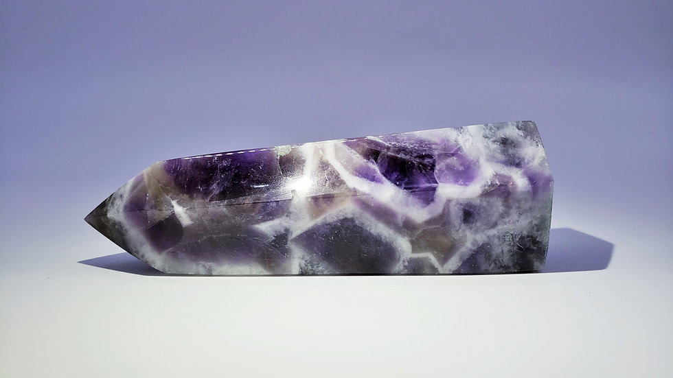 Large Chevron Amethyst Crystal Tower from Brazil