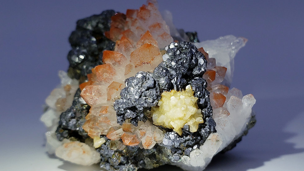 Red Hematite Quartz, Galena, Barite and Chalcopyrite