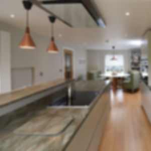 Kitchen design and interiors Birch plywood cabinets  Oak flooring Corian  Solid surface
