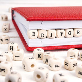 Word Editor written in wooden blocks in
