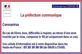 Coronavirus COVID-19 : Information Préfecture de la région Hauts-de-France et du Nord