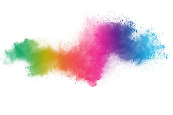 abstract powder splatted background. Colorful powder explosion on white background. Colore