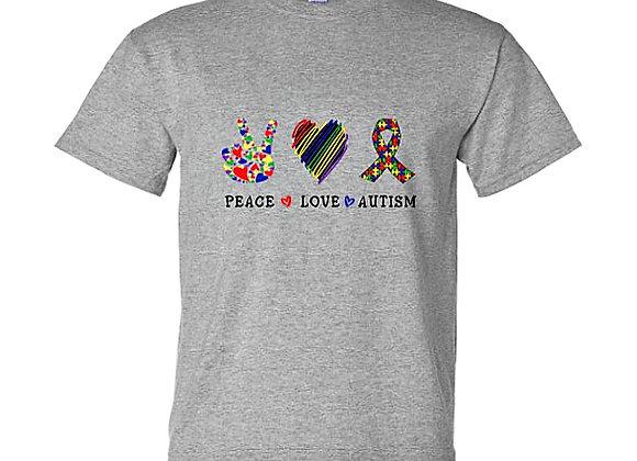 Peace Love Autism - Autism Awareness Unisex T-Shirt