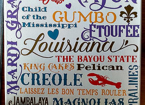 Louisiana Subway Tile Canvas Sign