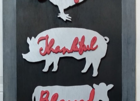 Grateful Thankful Blessed Farmhouse Wood Sign