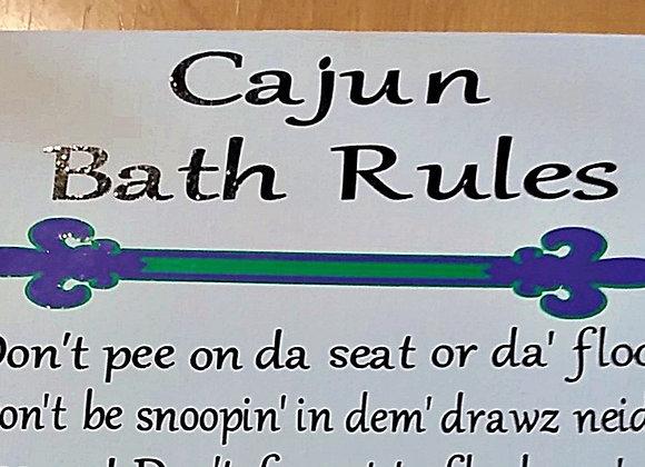 Cajun Bath Rules Canvas Sign