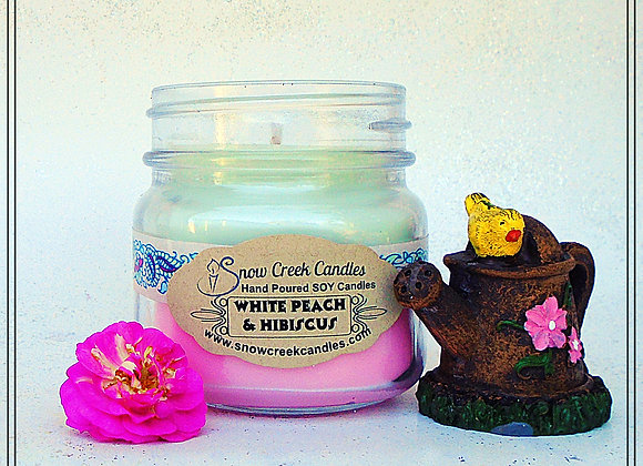 White Peach & Hibiscus 8 oz. Mason Jar Candle