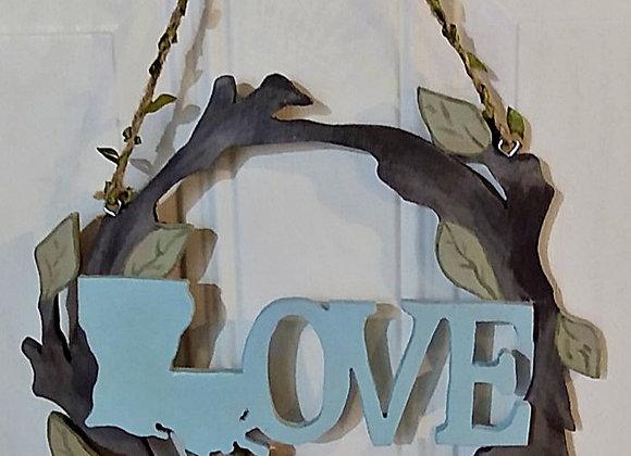 Love Louisiana Wooden Wreath